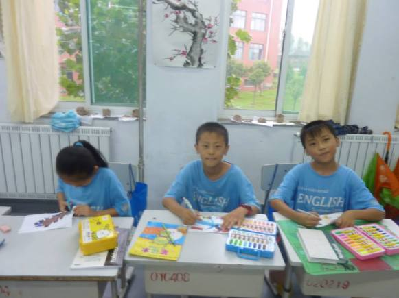Chinese School Children Working